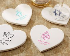 Personalized Heart Shaped Stone Coaster Religious | SET of 12 for $21.95 at www.EventDazzle.com | Religious Favors |Christening Favors | Baptism Favors | Bar Mitzvah Favors | Personalized Favors | Communion Favors