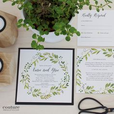 Wedding Invitation Suite Watercolour Spring Green by CouturePress