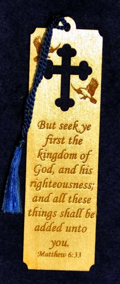 Your place to buy and sell all things handmade Wedding Favors, Wedding Gifts, Matthew 6 33, Bible Study Group, How To Make Bookmarks, Baptism Favors, Oak Stain, Cross Jewelry, The Kingdom Of God