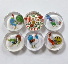 Chicken Magnets Vintage Roosters and Chickens by twoelements, $9.00