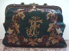 Antique Dated Civil War Era Needlepoint Carpetbag Stag Deer 1 side Floral other