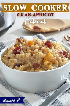 Slow cookers aren't just for stew! Our Slow Cooker Cran-Apricot Oatmeal recipe makes an energizing breakfast that leaves you full 'til lunch. For fast and easy cleanup in 8 seconds or less, guaranteed, with no soaking or scrubbing, use a Reynolds Slow Cooker Liner! Then add all ingredients, cook until oats are tender, and top with nuts or raisins for a perfect way to start your day!