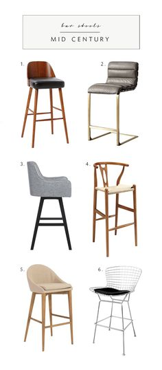 mid century bar stools, a timeless aesthetic via coco+kelley Modern Counter Stools, Modern Bar Stools, Kitchen Stools, Modern Chairs, Best Bar Stools, Modern Furniture, Italian Furniture, Affordable Furniture, Furniture Vintage