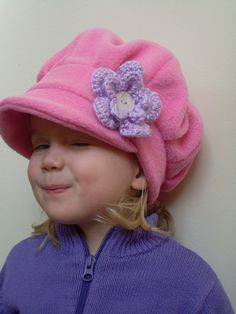 Handmade girl's pink fleece hat with by EmmasLittleCreations Fleece Crafts, Fleece Projects, Sewing For Kids, Baby Sewing, Sewing Crafts, Sewing Projects, Diy Hat, Kids Hats, Baby Hats