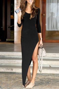 3/4 Sleeve Fitted Asymmetrical Black Dress BLACK: Maxi Dresses | ZAFUL