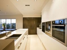 Elegant-Modern Home Interior Stylized in Neutral Color in Australia: Stylish Kitchen Interior With Beige Shipping Style In House Designing W...