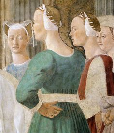 'Meeting between the Queen of Sheba and King Solomon', (detail) 1452-66. Fresco by Piero della Francesca