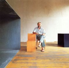 Donald Judd with his designs