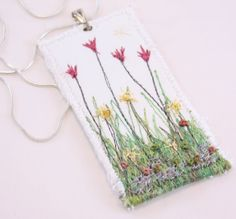 Spring Garden Embroidered floral flower pendant fiber fabric necklace garden lover silk embroidered tulips textile art