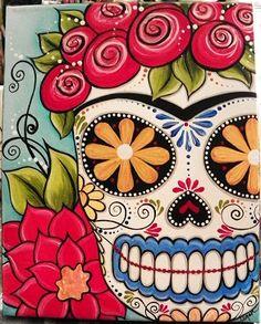 """Frida sugar skull""  my original painting 8x10 canvas  www.etsy.com/shop/mycreativebliss  www.facebook.com/meganksuarezfineart"