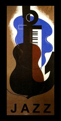 Jazz Guitar Piano Music Art Deco Fashion Style Vintage Poster Repo Free s H | eBay
