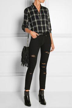 Saint Laurent | Plaid cotton-blend flannel shirt | NET-A-PORTER.COM