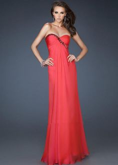 Watermelon Beaded Sinuous Trim Strapless Cutout Back Gown