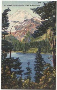 Vintage Washington State Postcard - Mount Baker and Reflection Lake (Unused)