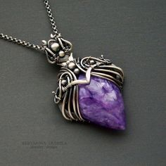 pendants with charoite by KL-WireDream on DeviantArt Copper Jewelry, Wire Jewelry, Pendant Jewelry, Jewelry Art, Gemstone Jewelry, Handmade Jewelry, Jewelry Design, Leather Jewelry, Jewlery