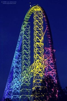 "Here is the Iconic Millennium Force ""night shot,"" with its awesome rainbow lights.  Gay pride anyone?  Seriously, the first drop on this coaster is unlike no-other.  Of course now there is Intimidator 305 to compete with.  Being up this high was an adrenaline rush, in itself."