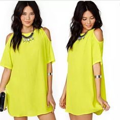 Cold Shoulder summer dress Lime yellow bright summer dress, totally summer worthy. M/L Dresses Midi