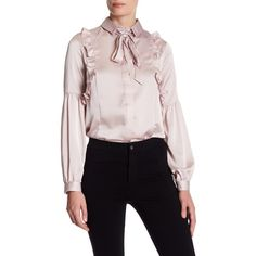 TOPSHOP Satin Ruffle Neck Tie Shirt (42 AUD) ❤ liked on Polyvore featuring tops, blouses, ash, ruffle shirt, long sleeve blouse, ruffle blouse, tie neck shirt and satin blouse