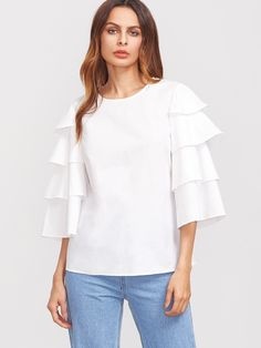 Shop White Layered Bell Sleeve Buttoned Keyhole Back Blouse online. SheIn offers White Layered Bell Sleeve Buttoned Keyhole Back Blouse & more to fit your fashionable needs. Blouse And Skirt, Ruffle Blouse, Bell Sleeves, Bell Sleeve Top, Blouse Online, Cotton Blouses, Cute Woman, Casual Tops, Blouses For Women