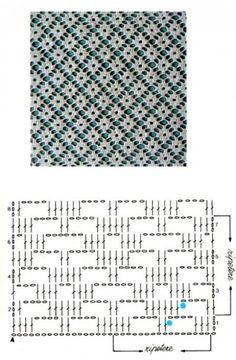 CROCHET - Lovely Feminine Wide Boarder Lattice Stitch Pattern (Asian Pattern, Found on Russian Website (allmyhobby. Motif Bikini Crochet, Crochet Lace Edging, Crochet Diagram, Love Crochet, Crochet Doilies, Crochet Flowers, Filet Crochet Charts, Crochet Stitches Patterns, Crochet Designs