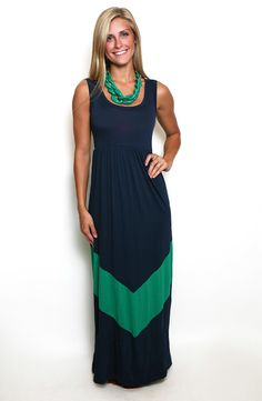 Walk This Way Maxi in Blue & Green- perfect Notre Dame game day outfit!!