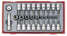 Teng Tools 30Pc Socket Bit Set Torx,Tpx,Torx-E