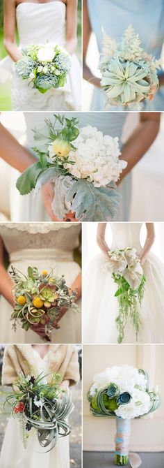 Refreshing Green and White Rustic Wedding Bouquet