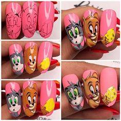 Long Acrylic Nails, Long Nails, Acrylic Nail Designs, Nail Art Designs, Pikachu Nails, Subtle Nails, Painted Nail Art, Nail Art Videos, Disney Nails