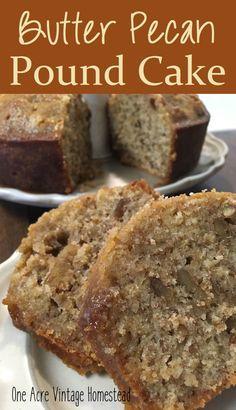 Butter Pecan Pound Cake ⋆ One Acre Vintage & Pumpkin Patch Mtn.Butter Pecan Pound Cake ⋆ One Acre Vintage & Pumpkin Patch Mtn.Butter Pecan Pound Cake ⋆ One Acre. Just Desserts, Delicious Desserts, Pecan Desserts, Desserts With Pecans, Recipes With Pecans, Picnic Desserts, Southern Desserts, Fall Dessert Recipes, Winter Recipes
