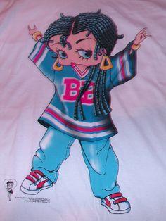 Vintage 1994 Betty Boop Hip Hop T Shirt Sz L Braids Jeans Gangster Jersey RARE | eBay