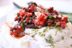 Roasted Red Pepper & Black Olive Relish - awesome topping for grilled fish, chicken & meat!