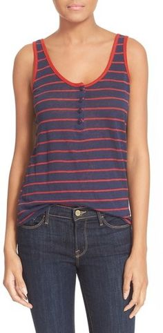 """Frame 'Le Nautical' Henley Linen Tank ($85) // as seen on Spencer Hastings, played by troian bellisario, in pretty little liars episode 7x02, """"bedlam."""""""