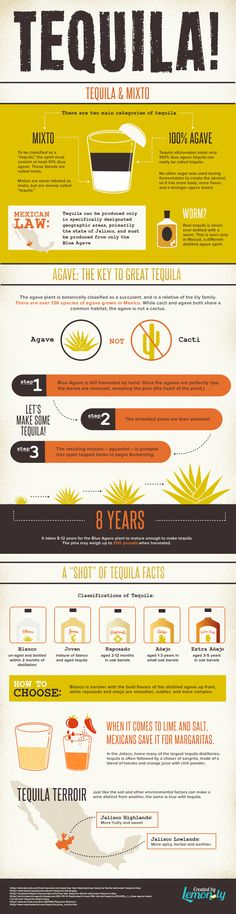 Get to know #tequila and find out how it's made with this infographic that kills some common misconceptions about the popular Mexican spirit. >> https://www.finedininglovers.com/blog/food-drinks/improve-your-tequila-knowledge/