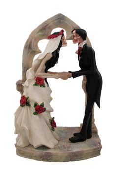 Day of The Dead Wedding Skeleton Couple Cake Topper