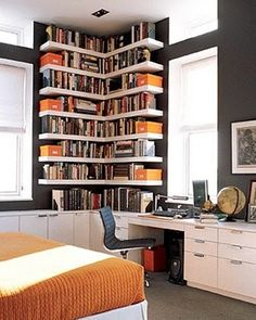 Corner book shelves & black walls