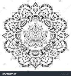 Circular pattern in form of mandala with lotus for Henna, Mehndi, tattoo, decora. Kreismuster in F Mandala Art, Mandala Drawing, Mandala Painting, Dot Painting, Lotus Mandala Design, Circular Pattern, Mandala Pattern, Zentangle Patterns, Lotus Henna