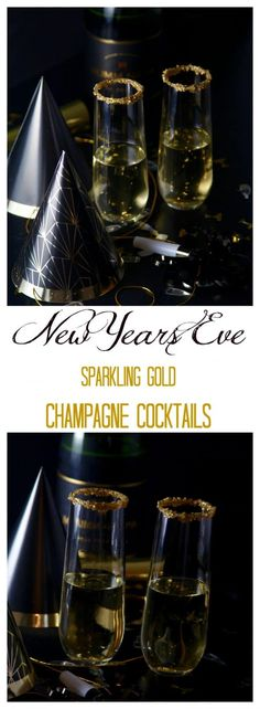 New Year's Eve Sparkling Gold Champagne Cocktails are glittering with real gold and bubbles, a festive chic sipper to ring in the New Year, Cheers! New Years Eve Menu, New Years Eve Drinks, New Year's Drinks, Bar Drinks, Holiday Cocktails, New Years Eve Party, Alcoholic Drinks, New Years Dinner, Cocktails Champagne