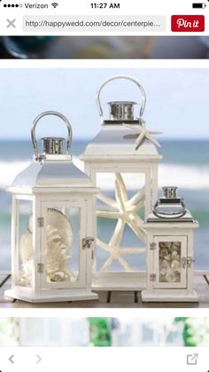 These lanterns but filled with pumpkins and lights and maybe some starfish...