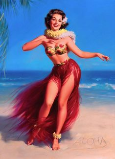 Pin-Up Girl Aloha Hawaii Hula Picture Poster Print Vintage Art Pin Up. 10 x inches Originally printed in the early Printed on highest quality stock soft gloss paper. Actual image dimensions are approximately 10 x inches. Poster is shipped Flat Pin Up Vintage, Vintage Art, Retro Pin Up, Vintage Posters, Pinup Art, Pulp Fiction, Pin Up Illustration, Thomas Kinkade, Pin Up Tattoos