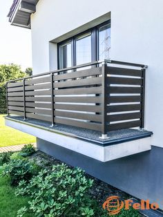 Elegant and modern look. High … - All About Balcony Veranda Railing, Glass Balcony Railing, Staircase Railing Design, Balcony Railing Design, Balcony Doors, Iron Balcony, Deck Railings, House Balcony Design, Balcony Grill Design