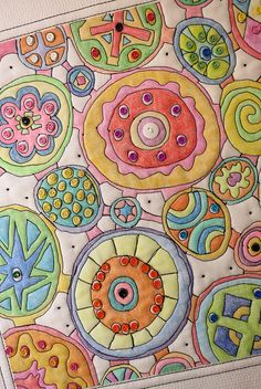 """Fabric Painting down with Crayola Crayons and THEN stitched and embellished!!!     """"Connections"""" - detail by mamacjt, via Flickr"""