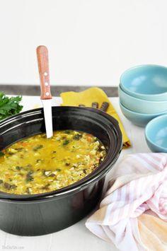 Slow Cooker Lemon Chicken Artichoke Soup in a Slow Cooker!