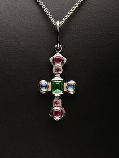 Handcrafted Sterling Silver Cross with Vivid Green Tsavorite, Moonstone and Intense Red Spinel