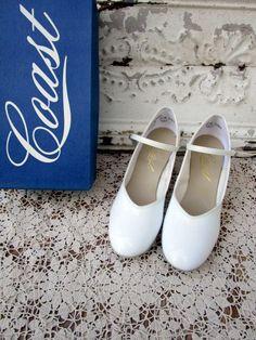 Vintage Coast White Patent Square Dance Heel Strap Shoe Mary Jane NIB Sz 8M by Holliezhobbiez on Etsy