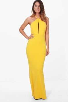 Willow Plunge Halterneck Maxi Dress at boohoo.com