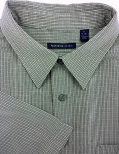 Van Heusen 2XLT Olive Green Rayon Mens Short Sleeve Shirt Matched Pocket #VanHeusen #Hawaiian