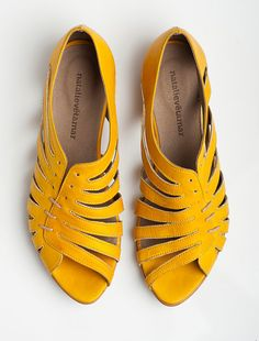 SALE 35 OFF Gilly yellow flat sandals by natalievetamar on Etsy, $117.00