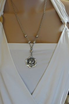 Rose pendant Silver necklace Silver rose flower Jewelry by AlinMay, $23.00