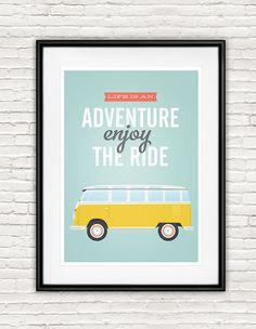 Quote print, volkswagen van, typography quote, retro poster, life quote, Inspirational art, positive print, enjoy the ride, Home decor