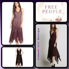 Host PickFree People Asymetrical lace dress Romantic and right now, this mid length stunner by Free People flaunts an ethereal handkerchief hem and a swoon- worthy sheer lace design that layers beautiful yo er your favorite slip, scoop neck, sleeveless, drop waist, sheer purple lace, flounced handkerchief hem, midi length, pullover style, wear casual with boots or dressy with heels. Free People Dresses Midi